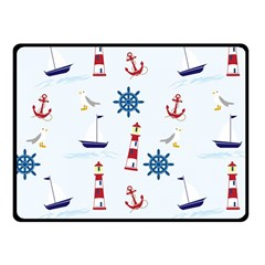 Seaside Nautical Themed Pattern Seamless Wallpaper Background Fleece Blanket (small) by Simbadda