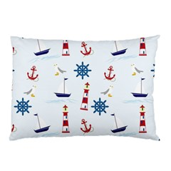 Seaside Nautical Themed Pattern Seamless Wallpaper Background Pillow Case (two Sides) by Simbadda