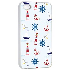 Seaside Nautical Themed Pattern Seamless Wallpaper Background Apple Iphone 4/4s Seamless Case (white) by Simbadda