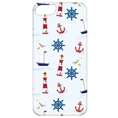 Seaside Nautical Themed Pattern Seamless Wallpaper Background Apple Iphone 5 Classic Hardshell Case by Simbadda