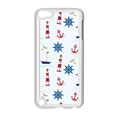 Seaside Nautical Themed Pattern Seamless Wallpaper Background Apple Ipod Touch 5 Case (white) by Simbadda