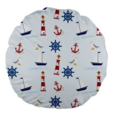 Seaside Nautical Themed Pattern Seamless Wallpaper Background Large 18  Premium Round Cushions by Simbadda