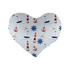 Seaside Nautical Themed Pattern Seamless Wallpaper Background Standard 16  Premium Heart Shape Cushions