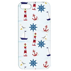 Seaside Nautical Themed Pattern Seamless Wallpaper Background Apple Iphone 5 Hardshell Case With Stand