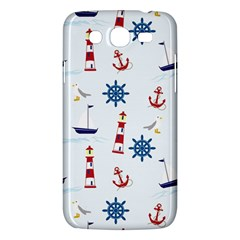 Seaside Nautical Themed Pattern Seamless Wallpaper Background Samsung Galaxy Mega 5 8 I9152 Hardshell Case  by Simbadda
