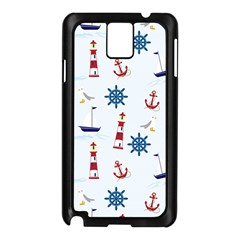 Seaside Nautical Themed Pattern Seamless Wallpaper Background Samsung Galaxy Note 3 N9005 Case (black) by Simbadda