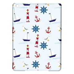 Seaside Nautical Themed Pattern Seamless Wallpaper Background Ipad Air Hardshell Cases by Simbadda