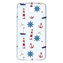 Seaside Nautical Themed Pattern Seamless Wallpaper Background Samsung Galaxy S5 Back Case (white)