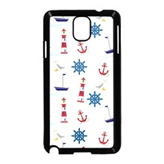 Seaside Nautical Themed Pattern Seamless Wallpaper Background Samsung Galaxy Note 3 Neo Hardshell Case (black)