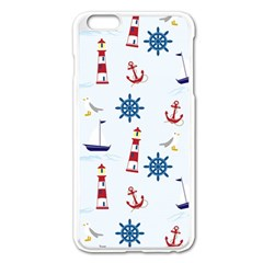 Seaside Nautical Themed Pattern Seamless Wallpaper Background Apple Iphone 6 Plus/6s Plus Enamel White Case by Simbadda