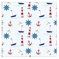 Seaside Nautical Themed Pattern Seamless Wallpaper Background Large Satin Scarf (square) by Simbadda