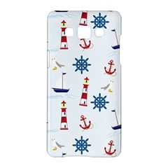 Seaside Nautical Themed Pattern Seamless Wallpaper Background Samsung Galaxy A5 Hardshell Case