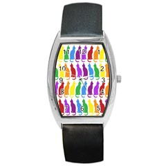 Rainbow Colorful Cats Wallpaper Pattern Barrel Style Metal Watch by Simbadda
