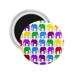 Rainbow Colors Bright Colorful Elephants Wallpaper Background 2 25  Magnets by Simbadda