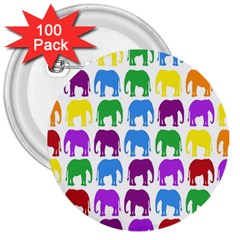 Rainbow Colors Bright Colorful Elephants Wallpaper Background 3  Buttons (100 Pack)  by Simbadda