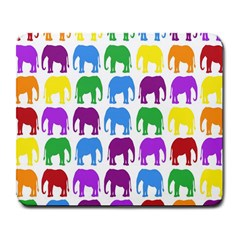 Rainbow Colors Bright Colorful Elephants Wallpaper Background Large Mousepads by Simbadda