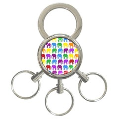 Rainbow Colors Bright Colorful Elephants Wallpaper Background 3 Ring Key Chains by Simbadda