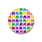 Rainbow Colors Bright Colorful Elephants Wallpaper Background Rubber Coaster (Round)  Front