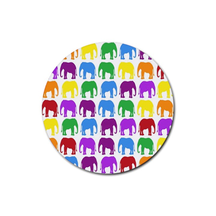 Rainbow Colors Bright Colorful Elephants Wallpaper Background Rubber Coaster (Round)