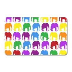 Rainbow Colors Bright Colorful Elephants Wallpaper Background Magnet (rectangular) by Simbadda