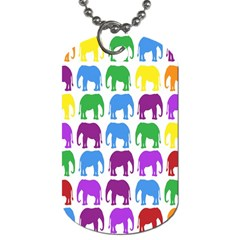 Rainbow Colors Bright Colorful Elephants Wallpaper Background Dog Tag (one Side) by Simbadda