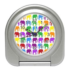 Rainbow Colors Bright Colorful Elephants Wallpaper Background Travel Alarm Clocks by Simbadda