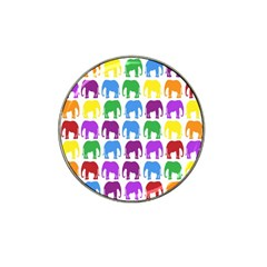 Rainbow Colors Bright Colorful Elephants Wallpaper Background Hat Clip Ball Marker by Simbadda