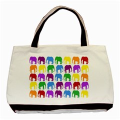 Rainbow Colors Bright Colorful Elephants Wallpaper Background Basic Tote Bag by Simbadda