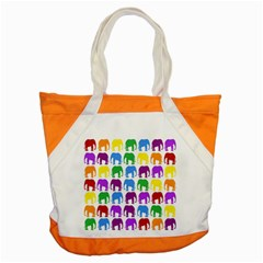 Rainbow Colors Bright Colorful Elephants Wallpaper Background Accent Tote Bag by Simbadda