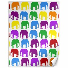 Rainbow Colors Bright Colorful Elephants Wallpaper Background Canvas 12  X 16   by Simbadda