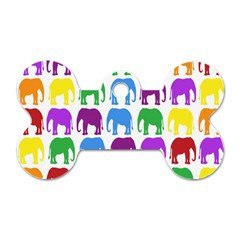 Rainbow Colors Bright Colorful Elephants Wallpaper Background Dog Tag Bone (one Side) by Simbadda