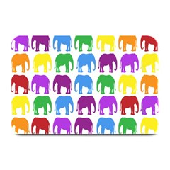 Rainbow Colors Bright Colorful Elephants Wallpaper Background Plate Mats by Simbadda