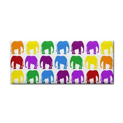Rainbow Colors Bright Colorful Elephants Wallpaper Background Cosmetic Storage Cases by Simbadda