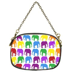 Rainbow Colors Bright Colorful Elephants Wallpaper Background Chain Purses (one Side)  by Simbadda