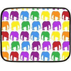 Rainbow Colors Bright Colorful Elephants Wallpaper Background Double Sided Fleece Blanket (mini)  by Simbadda