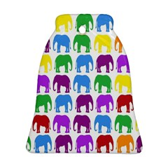 Rainbow Colors Bright Colorful Elephants Wallpaper Background Ornament (bell)