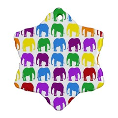 Rainbow Colors Bright Colorful Elephants Wallpaper Background Snowflake Ornament (two Sides) by Simbadda