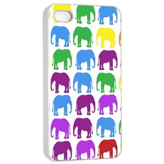 Rainbow Colors Bright Colorful Elephants Wallpaper Background Apple Iphone 4/4s Seamless Case (white) by Simbadda