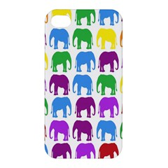 Rainbow Colors Bright Colorful Elephants Wallpaper Background Apple Iphone 4/4s Hardshell Case by Simbadda