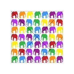 Rainbow Colors Bright Colorful Elephants Wallpaper Background Acrylic Tangram Puzzle (4  X 4 ) by Simbadda