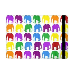 Rainbow Colors Bright Colorful Elephants Wallpaper Background Apple Ipad Mini Flip Case by Simbadda