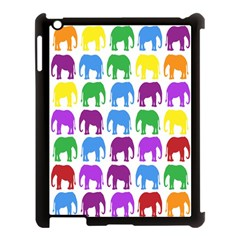Rainbow Colors Bright Colorful Elephants Wallpaper Background Apple Ipad 3/4 Case (black) by Simbadda