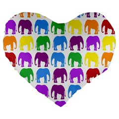 Rainbow Colors Bright Colorful Elephants Wallpaper Background Large 19  Premium Heart Shape Cushions by Simbadda