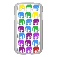 Rainbow Colors Bright Colorful Elephants Wallpaper Background Samsung Galaxy Grand Duos I9082 Case (white) by Simbadda