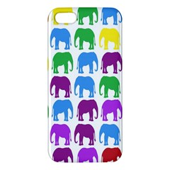 Rainbow Colors Bright Colorful Elephants Wallpaper Background Iphone 5s/ Se Premium Hardshell Case by Simbadda