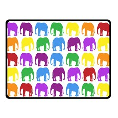 Rainbow Colors Bright Colorful Elephants Wallpaper Background Double Sided Fleece Blanket (small)  by Simbadda