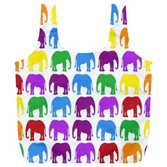 Rainbow Colors Bright Colorful Elephants Wallpaper Background Full Print Recycle Bags (l)  by Simbadda