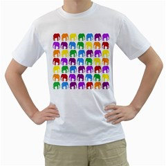 Rainbow Colors Bright Colorful Elephants Wallpaper Background Men s T-shirt (white)  by Simbadda