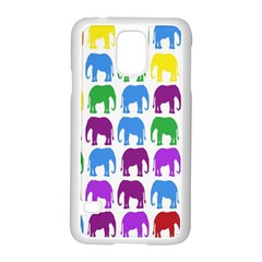 Rainbow Colors Bright Colorful Elephants Wallpaper Background Samsung Galaxy S5 Case (white) by Simbadda