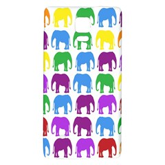 Rainbow Colors Bright Colorful Elephants Wallpaper Background Galaxy Note 4 Back Case by Simbadda